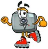 Camera Cartoon Character Roller Blading clipart