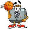 Camera Cartoon Character Spinning a Basketball clipart