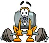 Camera Cartoon Character Lifting Weights clipart