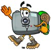 Camera Cartoon Character Hiking clipart