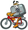 Camera Cartoon Character Riding a Bike clipart