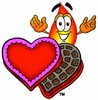 Flame Cartoon Character With Valentines Candies clipart