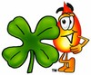 Flame Cartoon Character With a Four Leaf Clover clipart
