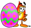 Flame Cartoon Character With an Easter Egg clipart