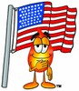 Flame Cartoon Character With an American Flag clipart