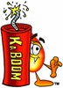 Flame Cartoon Character With a Stick of Dynamite clipart