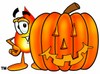 Flame Cartoon Character With a Halloween Pumpkin clipart