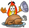 Flame Cartoon Character Serving a Thanksgiving Turkey clipart