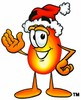 Flame Cartoon Character Wearing a Santa Hat clipart