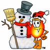 Flame Cartoon Character With a Snowman clipart