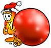 Flame Cartoon Character Holding a Christmas Ornament clipart