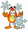 Flame Cartoon Character With Snowflakes clipart