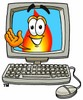 Flame Cartoon Character In a Computer Screen clipart