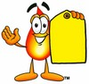 Flame Cartoon Character Holding a Yellow Price Tag clipart