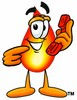 Flame Cartoon Character Holding a Phone clipart