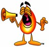 Flame Cartoon Character Screaming Into a Megaphone clipart
