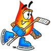 Flame Cartoon Character Playing Ice Hockey clipart