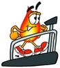 Flame Cartoon Character on a Treadmill clipart