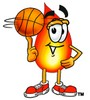 Flame Cartoon Character Spinning a Basketball clipart