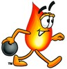 Flame Cartoon Character Bowling clipart
