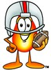Flame Cartoon Character Playing Football clipart