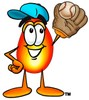 Flame Cartoon Character Playing Baseball clipart