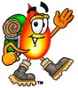 Flame Cartoon Character Hiking clipart