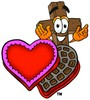 Wooden Cross Cartoon Character With Valentines Candies clipart