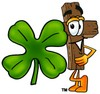 Wooden Cross Cartoon Character With a Four Leaf Clover clipart