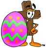 Wooden Cross Cartoon Character With an Easter Egg clipart