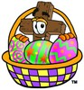 Wooden Cross Cartoon Character With Easter Eggs in a Basket clipart