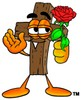 Wooden Cross Cartoon Character Holding a Red Rose clipart