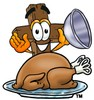 Wooden Cross Cartoon Character Serving a Thanksgiving Turkey clipart