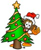 Wooden Cross Cartoon Character With a Christmas Tree clipart