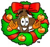 Wooden Cross Cartoon Character With a Christmas Wreath clipart