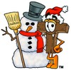 Wooden Cross Cartoon Character With a Snowman clipart