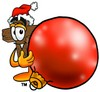 Wooden Cross Cartoon Character Holding a Christmas Ornament clipart