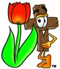 Wooden Cross Cartoon Character With a Spring Tulip clipart