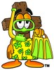 Wooden Cross Cartoon Character in Yellow Snorkel Gear clipart