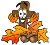 Wooden Cross Cartoon Character With Autumn Leaves and Acorns clipart