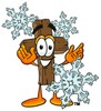 Wooden Cross Cartoon Character With Snowflakes clipart