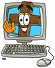 Wooden Cross Cartoon Character in a Computer Screen clipart