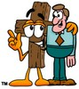 Wooden Cross Cartoon Character Talking to a Businessman clipart