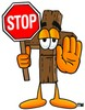 Wooden Cross Cartoon Character Holding a Stop Sign clipart