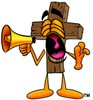 Wooden Cross Cartoon Character Screaming Into a Megaphone clipart