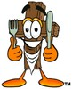 Wooden Cross Cartoon Character With Eating Utensils clipart