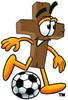 Wooden Cross Cartoon Character Playing Soccer clipart