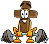 Wooden Cross Cartoon Character Lifting Weights clipart