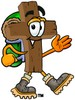 Wooden Cross Cartoon Character Hiking clipart