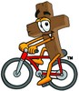 Wooden Cross Cartoon Character Riding a Bike clipart